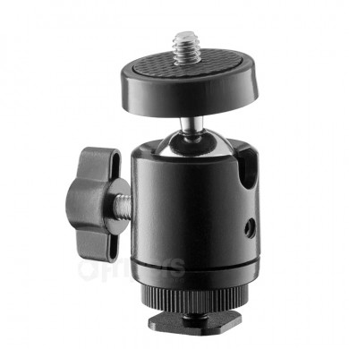 Ball head for mounting accessories on shoe or tripod FreePower