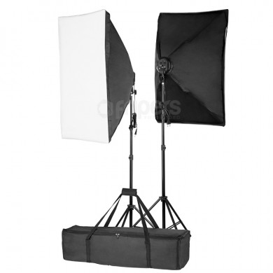 Dvojitý set trvalých světel FreePower 2400W with softbox 50x70 and bag