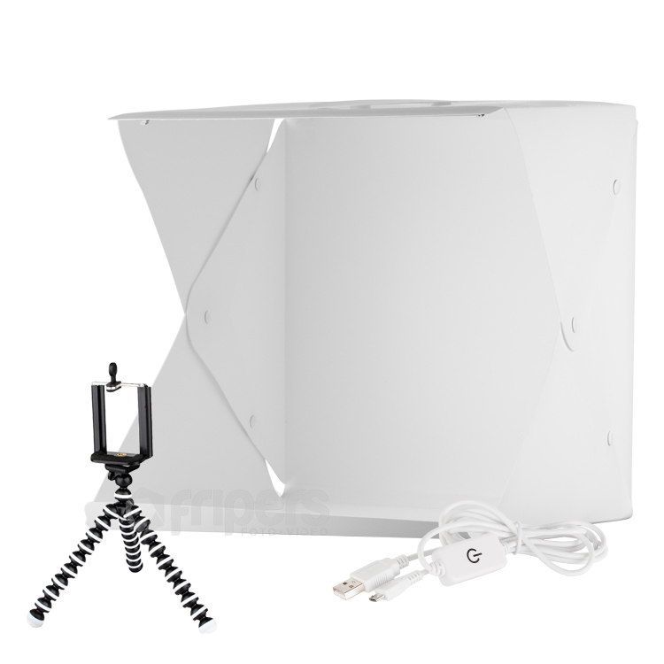 LED Light tent with dimmer FreePower 40cm USB with 4 backgrounds and tripod
